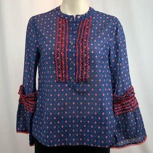 J.Crew Cotton/Silk Blend Patterned Blouse S/M